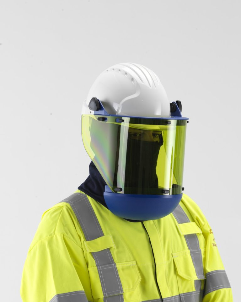 man wearing Paulson Arc Flash Protective Faceshield and balaclava