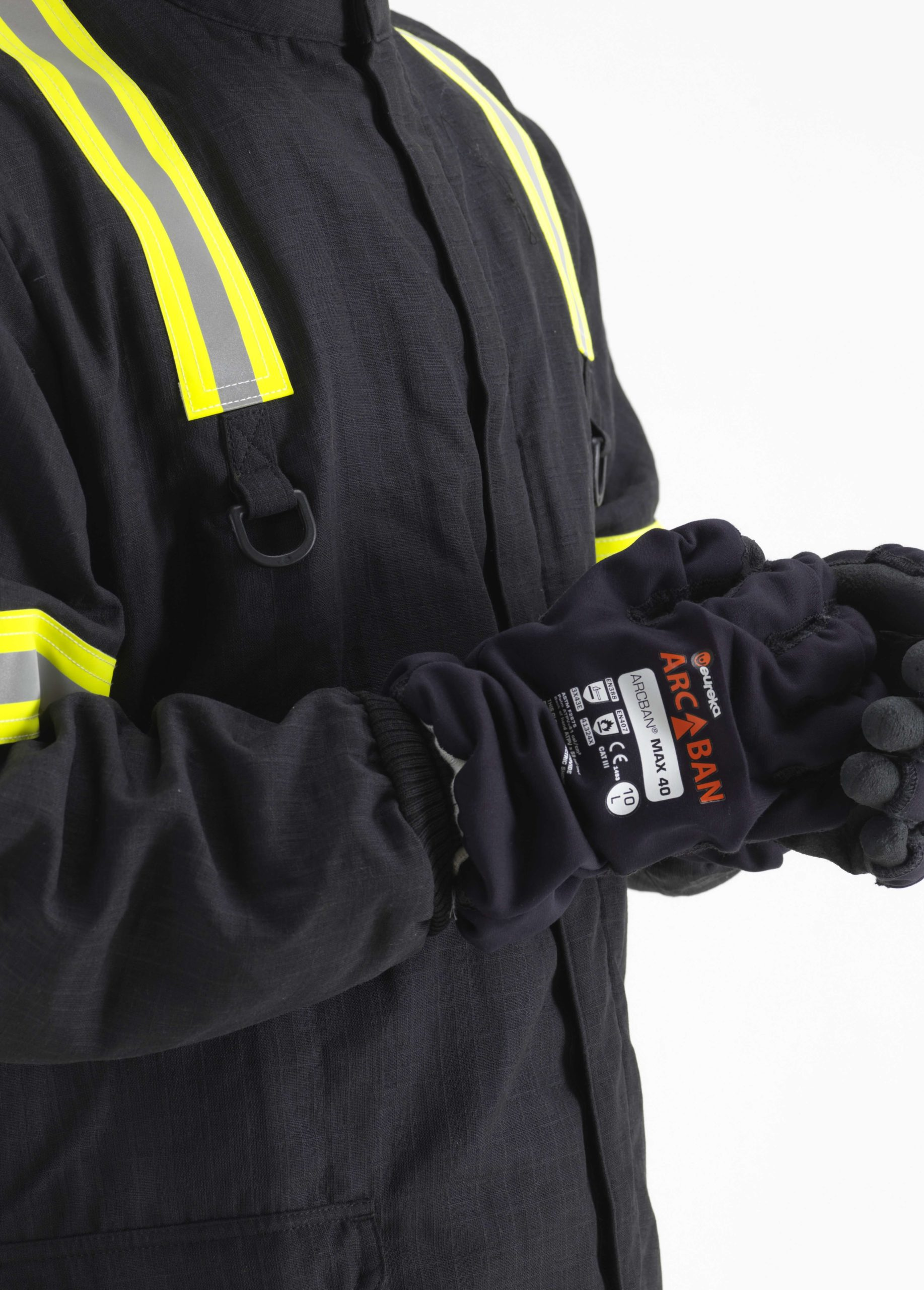 close up black Arcban Full Protective kit wrist cuffs and gloves