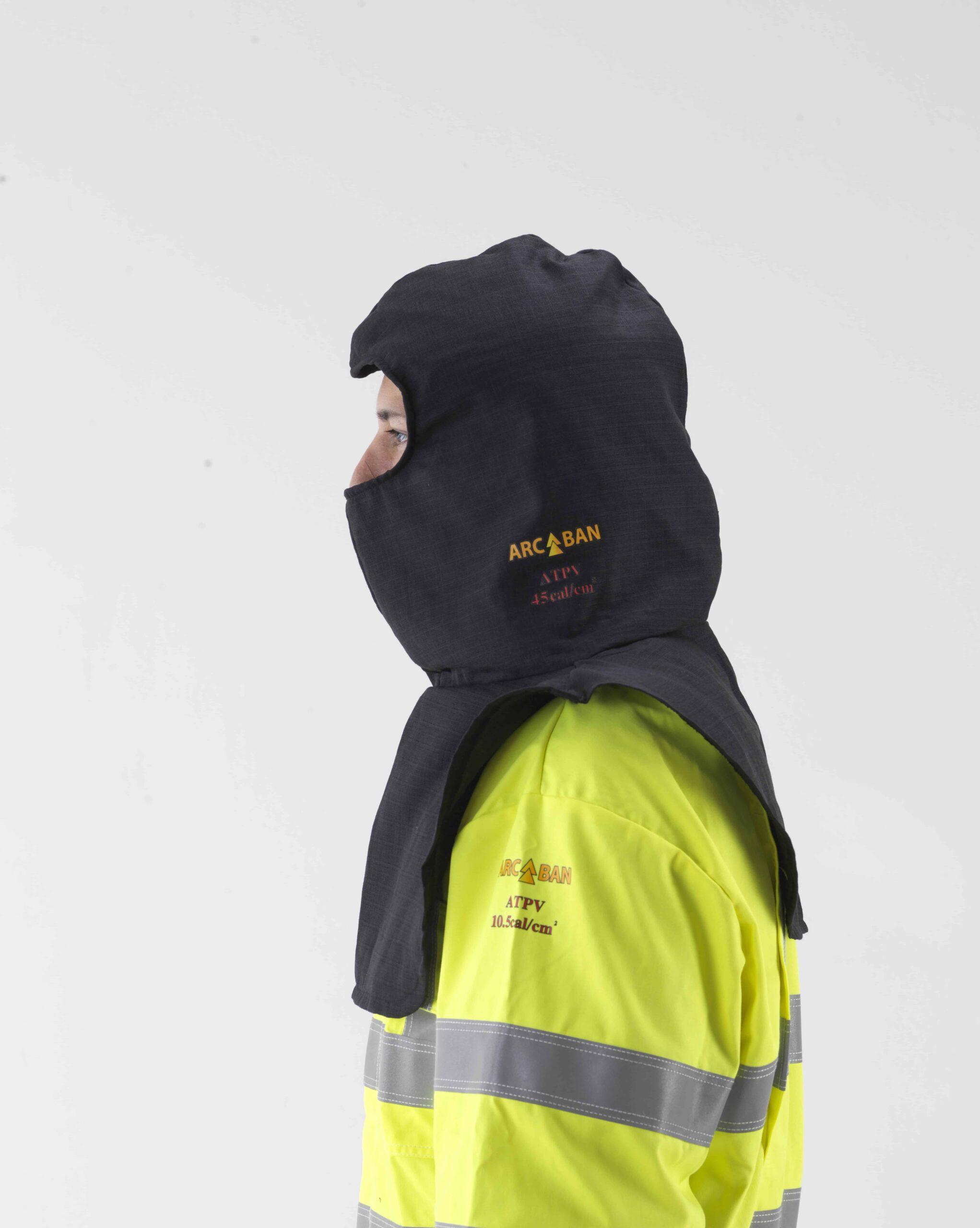 Arc flash protection balaclava hood side view