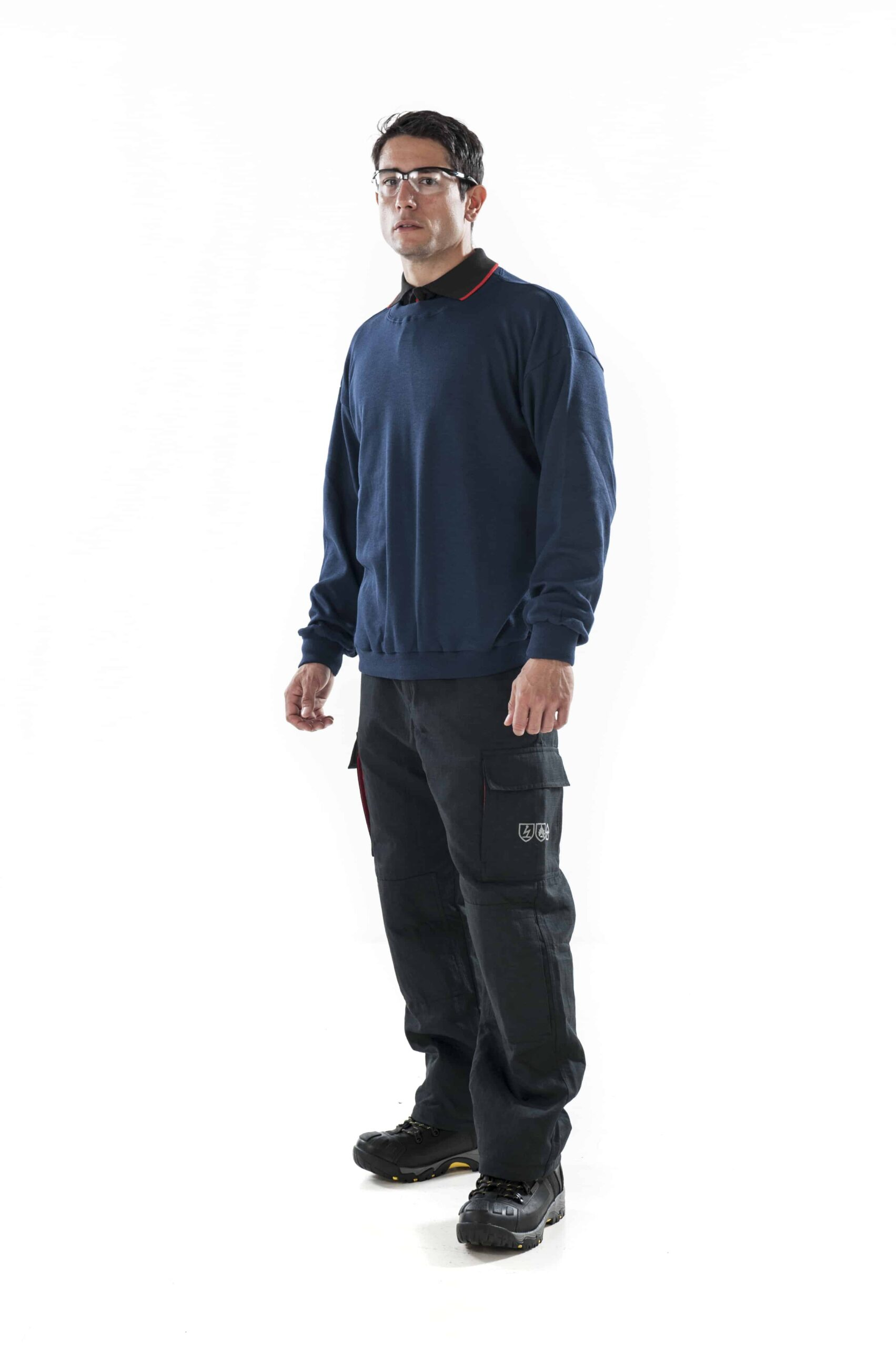 man wearing ArcBan® Blue Sweatshirt