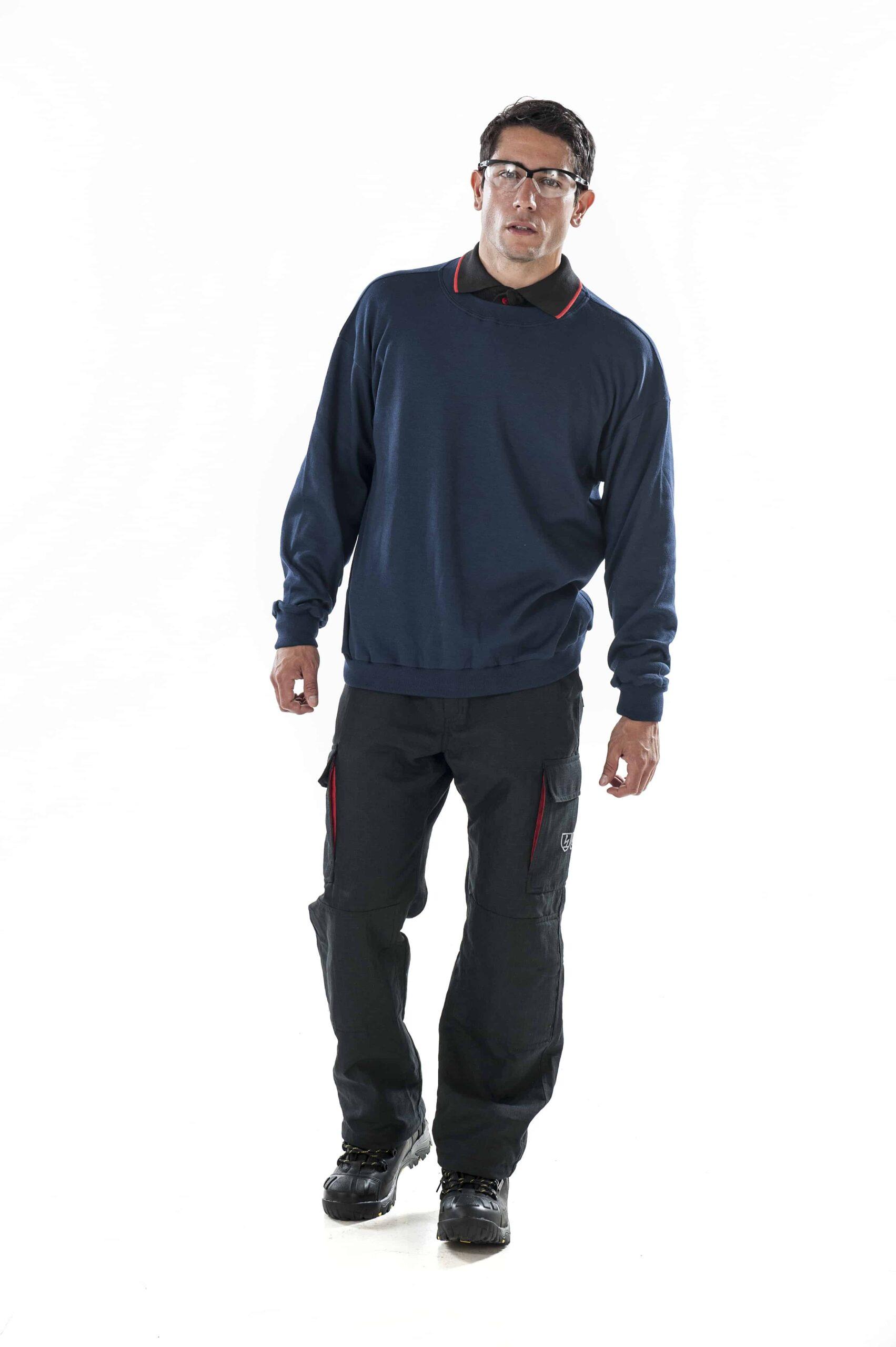 man wearing ArcBan® Blue Sweatshirt and safety glasses