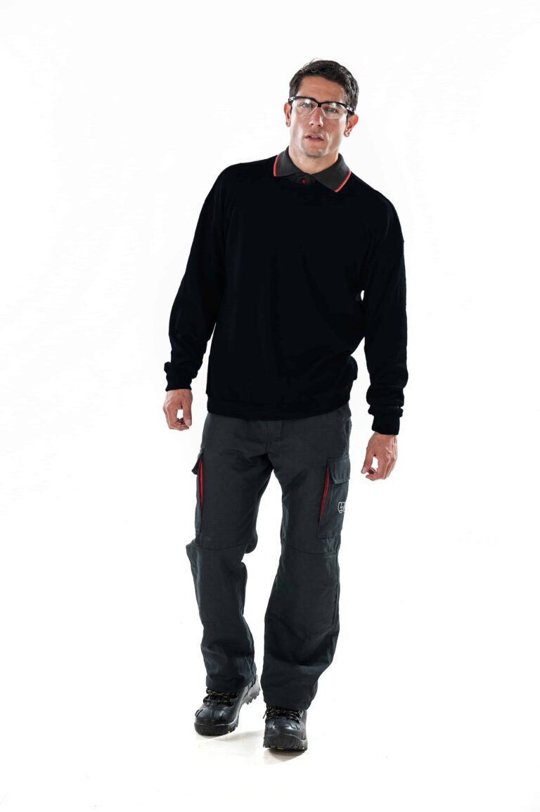 man wearing ArcBan® Black Sweatshirt walking
