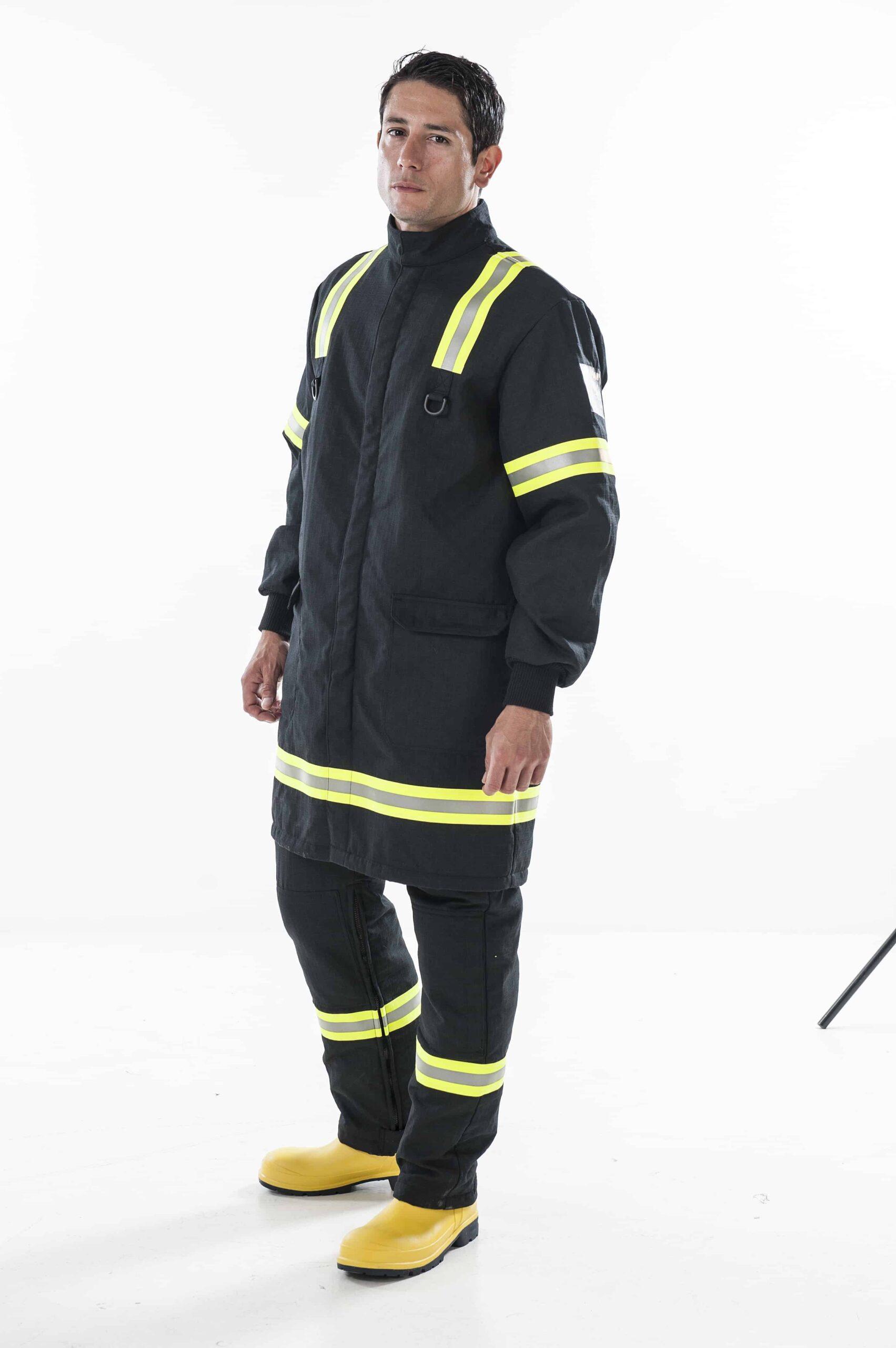 man wearing black Arcban 2 layer longcoat facing ahead