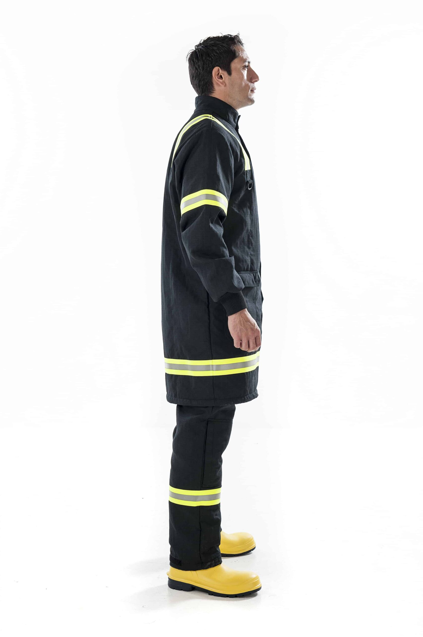 man wearing black Arcban 2 layer longcoat right side view